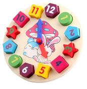 Chidren Gifts Wooden Toy Digital Geometry Clock Children Educational Toy Building Blocks