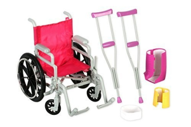 Click n' Play Doll Wheelchair and Crutches Set, Perfect For 46cm American Girl Dolls
