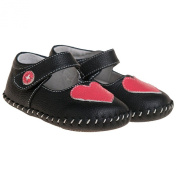 Girls Infant Toddler Leather Soft Sole Baby Shoes - Matt Black with Pink Heart