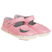 Girls Infant Toddler Leather Soft Sole Baby Shoes - Pink with Silver Star Moon