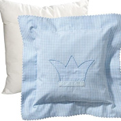 Wellyou Cuddly Pillow And Pillowcase - 40X40cm - Light Blue With White Cheques