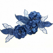 Beads4crafts 1 Navy Applique With Sewn On Crystal Dressmaking Accessories 285X140Mm Hl1045
