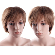 S-noilite UK Seller Adjustable Short Full Head Wigs Straight Hair Wig Cosplay Party Daily Dress Synthetic Light Brown