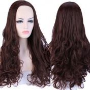 S-noilite. Women Half Wigs Long Curly Cosplay Party Daily Dress Medium Brown G7