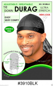 Murry Collection Tie Down Durag Adjustable / Breathable / Wrinkle Free # 3910Blk