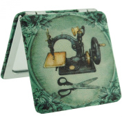 The Olivia Collection Old Sewing Machine Design 2x Magnification Square Compact Mirror SC1175