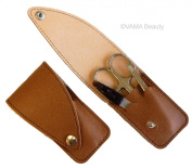 VAMA Beauty Brown Leather Travel Manicure Set for Men with Solingen Tools