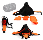 DURAGADGET Deluxe Triangle 'Sling' Camera Carry Bag In Black & Orange For NEW Sony HDR-PJ530 / HDR-PJ330 / HDR-CX240 Handycams / Sony HDR-MV1B Full HD Music Video Recorder - With Adjustable Interior Compartments & Multiple Pockets
