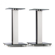 auna BS-03S-WHOA Speaker Stands Aluminium Glass MDF Cable Duct incl. Spikes