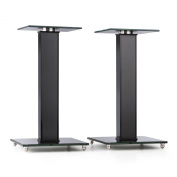auna BS-03S-BK Speaker Stands Aluminium Glass MDF Cable Duct incl. Spikes