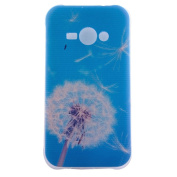 PowerQ M-M Colourful Pattern TPU Case for Samsung Galaxy J1Ace J1-Ace SM-J110 J110 with Beautiful Pretty Pattern Print Printing Drawing Soft TPU Skin Case Cover - blue-white dandelion
