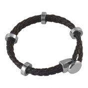 . Luxury Black Leather Weave with Silver Tone Links Bracelet