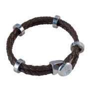 Weave Design Leather Chocolate Brown Bracelet Silver Rings Gift Boxed