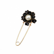 Women's Brooch Pin Scarf Shawl Clip Camellia Flower Faux Pearl Decorated Black and Gold