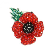 Angelys Red Crystalised 4 Petal Poppy Brooch