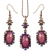 Elegant Pink Purple Retro / Gothic Design Crystal Flower Drop Necklace Earrings