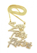 Shiny Stud Sorry For Party Rocking Pendant 3mm 76cm Box Chain Necklace in Gold-Tone