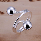 *UK* SILVER PLATED SIZE P 1/2 ADJUSTABLE SPRING BEAD RING STATEMENT BALL WIRE COIL TWIST THUMB