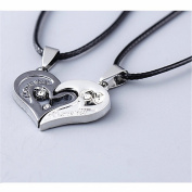 BODYA Stunning 2pcs Men Women Lover Couples Gift Necklace I Love You Heart Pendant Set Stainless Steel