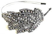 Vintage Beaded Head Piece Silver Diamante Leaf Headband 20s 30s Bridal Flapper Great Gatsby Prom f06 *EXCLUSIVELY SOLD BY STARCROSSED BEAUTY*