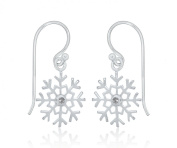 Tuscany Silver Snowflake with Clear Cubic Zirconia Drop Earrings