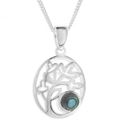 Ornami Sterling Silver and Abalone Pierced Out Family Tree Pendant on Chain of 46cm