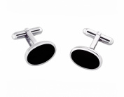 Solid Sterling Silver and Onyx Oval Cufflinks with Gift Box