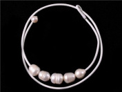 """Sweet & Happy Girl'S Store 9-10mm Mixed Colour White Grey Red Brown 5 Pearls Strand Blue Necklace Adjustable Size 17.5"""""""
