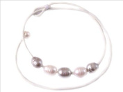 Sweet & Happy Girl'S Store 9-10mm Mixed Colour White Grey Red Brown 5 Pearls Strand Blue Necklace Adjustable Size 17.5""