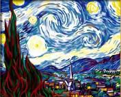 Diy oil painting, paint by number kits- worldwide famous oil painting The Starry Night by Van Gogh 16*50cm .