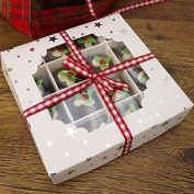 Economy White Window Sweet Box with Silver Star Design