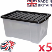 CrazyGadget® 50L 50 Litre Large Big Plastic Storage Clear Box Strong Stackable Container - Made In U.K. - Pack of 5