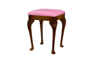Antique Oak small dressing table/ foot stool with 43cm Queen Anne style legs and Pink Faux Leather Cushion