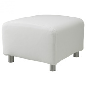 Shopisfy 100% Cotton Replacement Slipcover for Ikea Klippan Footstool with Hook and loop Fitting, White