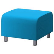 Shopisfy 100% Cotton Replacement Slipcover for Ikea Klippan Footstool with Hook and loop Fitting, Turquoise
