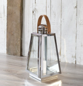 DARTMOUTH - Candle Lantern with Leather Handle - High Quality Stainless Steel Pillar - Pillar Tealight Candle Lantern with Leather Handle - Garden Patio Tealight Holder Table Wedding - Indoor Outdoor - 19 x 19 x 40cm