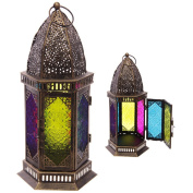 Hexagonal Moroccan Style Metal and Glass Lantern Height 34cm