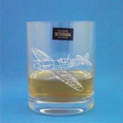 Bohemia Crystal Whisky Glass With Spitfire Fighter Design with gift box