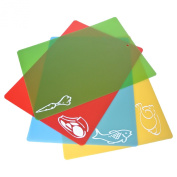 LUPO® Flexible Colour Coded Chopping Board 4 Unique 38cm x 28cm Mats Utensil Set Dishwasher Safe and Germ Resistant Anti Bacterial