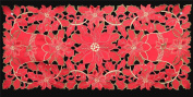 Creative Linens Holiday Christmas Embroidered Poinsettia Bell Placemat Table Runner Tablecloth RED Various Sizes