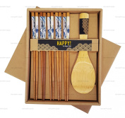 Happy Sales Bamboo Chopsticks Gift Set Rice Paddle Included Great Wave