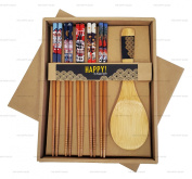 Happy Sales Bamboo Chopsticks Gift Set Rice Paddle Included Lucky Cat
