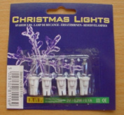 5 Clear Push In Spare Fairy Bulbs With White Base 2v 0.2w 0.1a