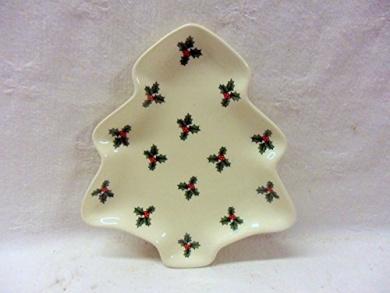christmas holly small 13cm tree dish by Heron Cross Pottery.