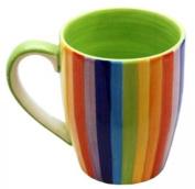 Windhorse Rainbow Striped Ceramic Coffee/Tea Mug