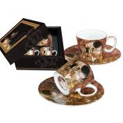 Gustav Klimt 'The Kiss', Porcelain Espresso Cup with saucer Set of 2