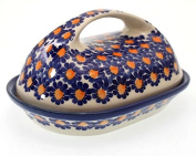 Classic Boleslawiec Pottery Hand Painted Stoneware Butter Dish with lid 331-U-002