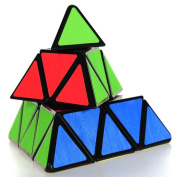 Coolzon Triangle Pyramid Pyraminx Magic Cube Speed Puzzle Twist Toy Game Education, Black