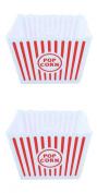 Ardisle 2 PCS Large Retro Striped Cinema Design Striped Plastic Popcorn Holder Tub White