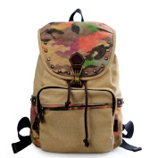 Douguyan Women's Vintage Fashion Canvas Backpack School Bag Travel Daypack Rucksack E00159 Khaki
